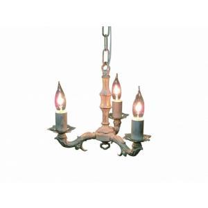 真鍮 シャンデリア (FC-693R3) LED対応 くすんだようなホワイトが印象的 アンティーク調 ランプ 照明 吊り下げ式 シンプル|habitz-mall