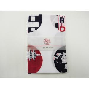 プリント手ぬぐい「福山名産」赤X紺|habu-net-shop