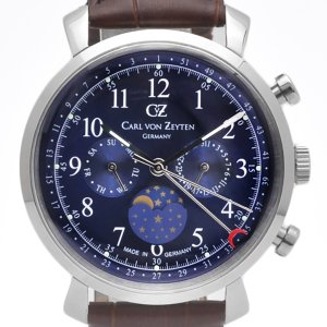 Carl von Zeyten カール・フォン・ツォイテン 電池式クォーツ 腕時計 [CvZ0015BL] 正規品   カレンダー  デイ&ナイト(サン&ムーン)|hachigoten