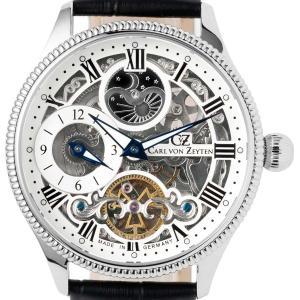 Carl von Zeyten カール・フォン・ツォイテン 自動巻き(手巻き機能あり) 腕時計 [CvZ0034WH] 並行輸入品   デイ&ナイト(サン&ムーン)スケルトン|hachigoten