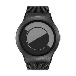 ZEROO ゼロ QUARTER MOON 電池式クォーツ 腕時計 [W08035B03SM03] グレイ デザインウォッチ おしゃれ時計|hachigoten