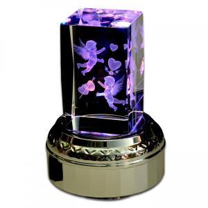 ギフト プレゼント オルゴール メモル 女性 出産祝い 結婚祝い 誕生日 内祝い 3Dクリスタル オルゴール 18弁 送料無料|haciendaiyashi