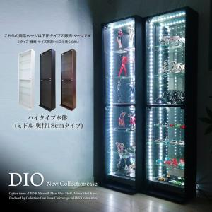 コレクションラック DIO ディオ 本体 ハイタイプ 鍵付 奥行18cmタイプ 浅型