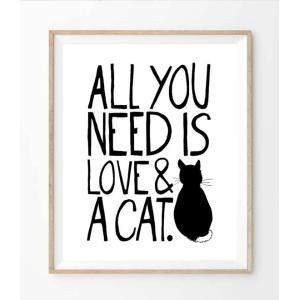 【ネコポス送料無料】THE LOVE SHOP | ALL YOU NEED IS LOVE AND A CAT | A4 アートプリント/ポスター|hafen