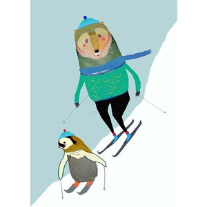 ASHLEY PERCIVAL | SKIING PENGUIN AND BEAR | A3 ポスター/アートプリント|hafen