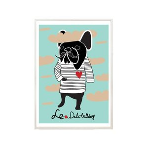 NICE MICE FOR YOU | FRENCH BULLDOG WEARING LOAF OF BREAD (Green) | A3 アートプリント/ポスター