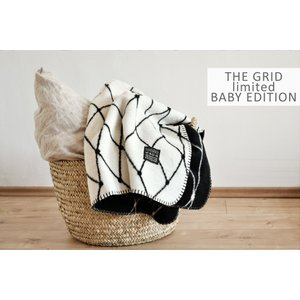 bastisRIKE | THE GRID - COTTON BABY BLANKET (black and white) | ベビーブランケット【75x100cm】|hafen