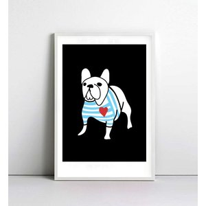NICE MICE FOR YOU | FRENCH BULLDOG IN BRETON SHIRT | A4 アートプリント/ポスター【フレンチブルドッグ】