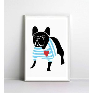 NICE MICE FOR YOU | FRENCH BULLDOG IN BRETON SHIRT (black) | A4 アートプリント/ポスター【フレンチブルドッグ】