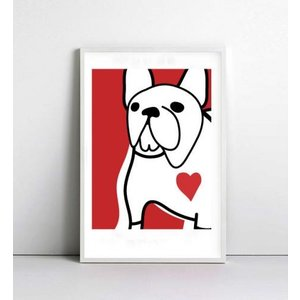 NICE MICE FOR YOU   FRENCH BULLDOG (red)   A4 アートプリント/ポスター