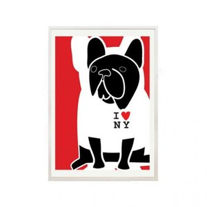 NICE MICE FOR YOU | FRENCH BULLDOG IN I LOVE NY T SHIRT | A4 アートプリント/ポスター