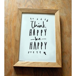 OLD ENGLISH CO. | THINK HAPPY BE HAPPY PRINT (BLACK/WHITE BACKGROUND) | A4 アートプリント/ポスター|hafen