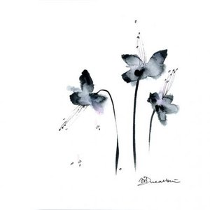 DUEALBERI | BLACK FLOWERS WATERCOLOR PRINT | A4 アートプリント/ポスター|hafen