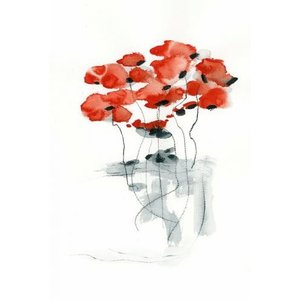 DUEALBERI | RED POPPY WATERCOLOR PRINT | A4 アートプリント/ポスター|hafen