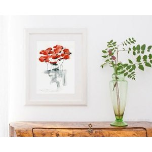 DUEALBERI | RED POPPY WATERCOLOR PRINT | A4 アートプリント/ポスター|hafen|02