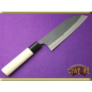 包丁 三徳型黒打ち料理包丁 青鋼サイズ165mm|haganedo