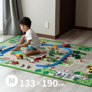 男の子 キッズラグ ロードマップ 2 約133×190cm (中) (約1畳半) カーペット プレイマット デスクマット 道路|hagihara6011