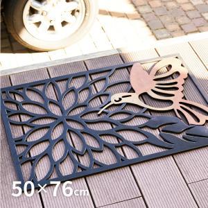 玄関マット 屋外用 おしゃれ ラバーマット 約50×76×1.5cm (銅仕上げタイプ 鳥と蓮の花 モダン手裏剣 モダン)の写真
