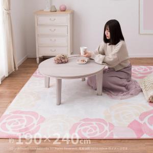 姫系でエレガントな花柄ラグ レネ 約200×250cm (約3畳) カーペット 床暖房対応 ホットカーペット対応ラグ ラグマット おしゃれ|hagihara6011
