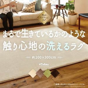 洗えるラグ 手洗いOK 洗えるミンクタッチラグ 約200×300cm (約4畳) 長方形|hagihara6011