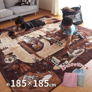 洗えるラグ 道路柄 モダンタウン 約185×185cm (約2畳) (正方形) キッズラグ 床暖房対応 ホットカーペット対応ラグ ブラウン|hagihara6011