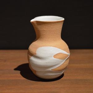 サイズ: 径7.5cm  幅9.8cm  高さ13.5cm   White glaze tokkur...