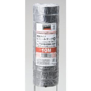トラスコ中山:TRUSCO 脱鉛タイプ ビニールテープ 19X10m 黒 10巻入り TM1910BK-10P 型式:TM1910BK-10P(1セット:10巻入)|haikanbuhin