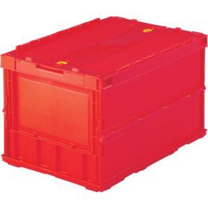 TRUSCO 薄型折りたたみコンテナ 50Lロックフタ付 赤 TR-C50B ( TRC50B )|haikanshop