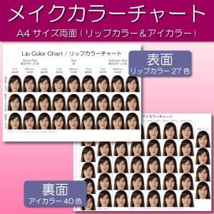 メイクカラーチャート(平均顔ベース)|A4サイズ両面|表面:リップカラー|裏面:アイカラー|口紅見本|アイシャドウ見本|hair-color