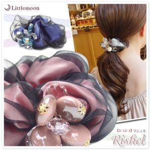 シュシュ シフォン ビーズ ヘアアクセサリー 大きめ 髪飾り リシェル ゆうパケット対応|hair