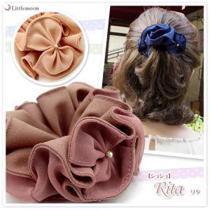 シュシュ クリスタル ヘアアクセサリー ラインストーン 髪飾り リタ ゆうパケット対応|hair