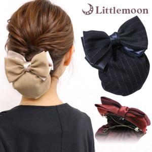バレッタ シニヨン シニョン リボン サテン ストライプ シック 上品 知的 ブラック オフィス ヘアアレンジ ヘアアクセサリー 髪飾り ルパッセ|hair