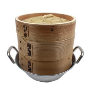 【様々な蒸し料理に最適】杉製セイロの身(本体)2個と蓋(ふた)セイロ専用鍋のセットです。肉まんやシュ...