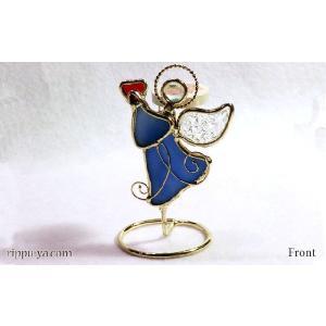 珪藻土アロマプレート ハートの天使 ブルー 〔立風屋〕スタンドセット|hajimaru
