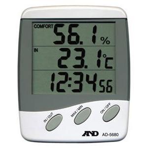エーアンドデイ AD-5680 時計付内外温度・湿度計 A&D|hakaronet
