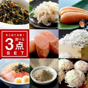 【選べる3品まとめて2,700円セット】明太子 鮭 いか 昆布 キムチ 辛子高菜 とらふぐ ラーメン...