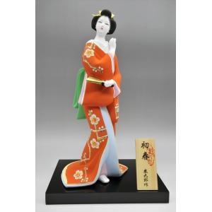 博多人形 【初 春】  赤 最も売れている「女性物」!!様々な場面でご利用頂ける日本の人形です(人形ケース付)|hakata-honpo