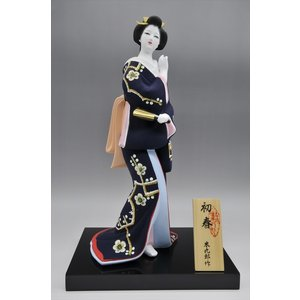 博多人形 【初 春】  青 最も売れている「女性物」!!様々な場面でご利用頂ける日本の人形です(人形ケース付) hakata-honpo