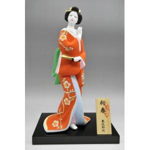 博多人形 【初 春】  赤 最も売れている「女性物」!!様々な場面でご利用頂ける日本の人形です|hakata-honpo