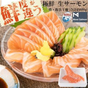 クリスマス サーモン 鮭 アトランティックサーモン 生 刺身用 背・腹セット 約600g 切るだけ ...