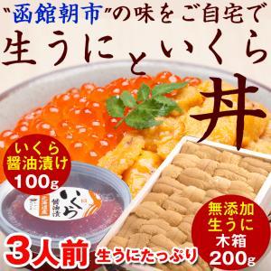 ウニ いくら丼) 生うにとイクラのセット 無添加生うに(木箱入り)200g と 北海道産いくら醤油漬...