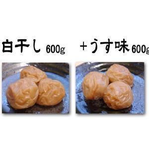 紀州南高梅干し白干し600g入+うす味600g入|hakogi