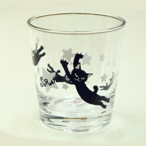 スクラッチのアクリルクリアタンブラー(黒猫ジャンプ) hakoniwa