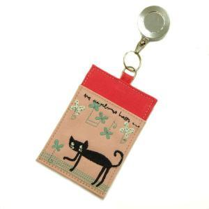 帆布の猫のパスケース リール付(桃ベース) hakoniwa