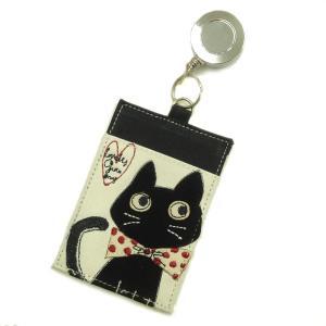帆布の猫のパスケース リール付 (リボン猫) hakoniwa