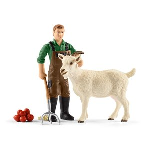 シュライヒ 42375 農夫とヤギ  動物フィギュア|hakoniwa