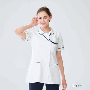HO1672 ナガイレーベン Nawayファンデーションがつきにくい襟元 レディス上衣 白衣 医療用 看護師用 ナース ネイビー レディース 女性用 ho-1672