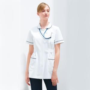 HO1682 ナガイレーベン Nawayファンデーションがつきにくい襟元 レディス上衣 白衣 医療用 看護師用 ナース ネイビー レディース 女性用 ho-1682