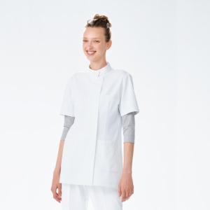 HO1982 ナガイレーベン NawayHosparStat 女子上衣 半袖 白衣 看護師用 ナース 女性 白 ホワイト グリーン ナガイレーベン ho-1982