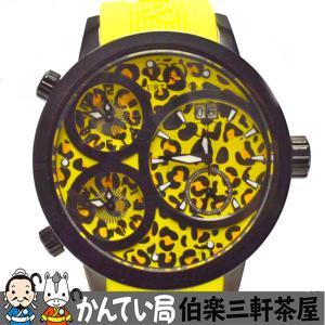 CURTIS&Co.(カーティス)The BIG Time WORLD 57mm YELLOW Leopard Dial SW57LY-B クオーツ SS ラバーベルト イエロー レオパード【中古】|hakuraku78